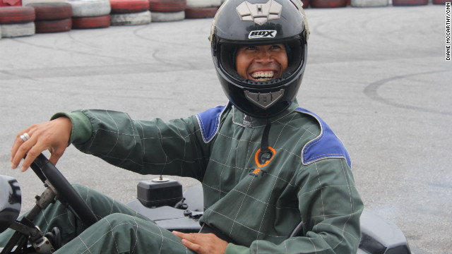 CNN's Vladimir Duthiers tries out go-kart racing in Lagos, Nigeria.
