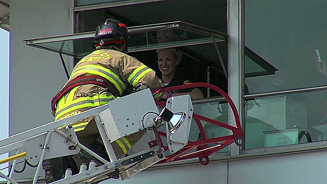 Watch firefighter's unusual proposal