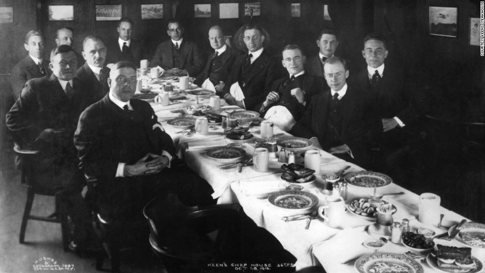 Here, a group of gentlemen dine at Keens in the 1910s.
