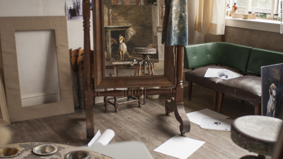 The artist's tools, the sketches and photos pinned to the walls and the slight disarray are much as they would have been when Andrew Wyeth worked in this studio.