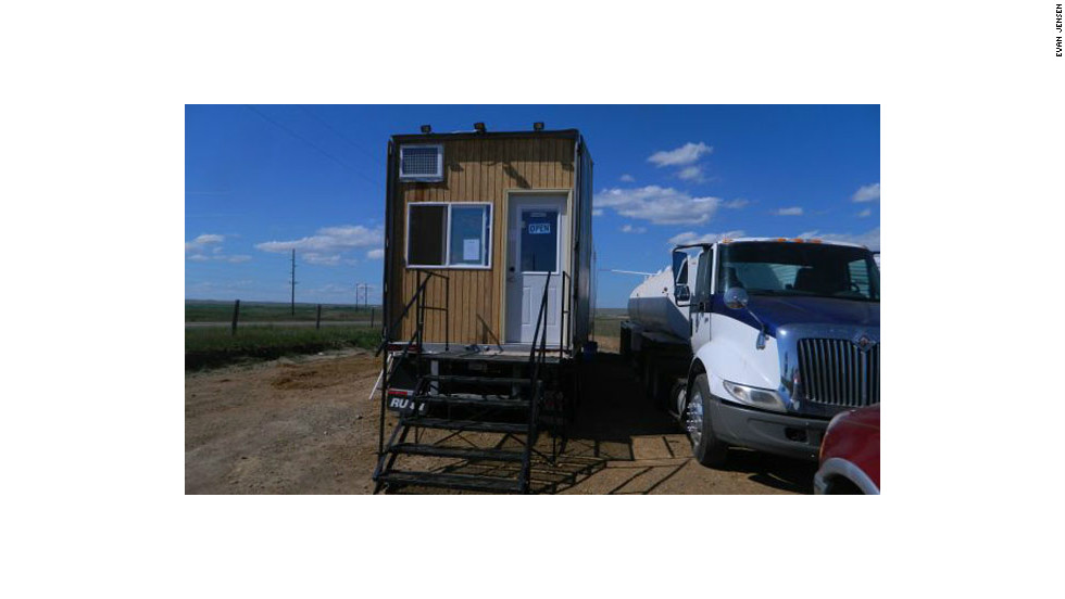 Jensen's shower trailer is open for business when most of Williston's oil workers are done with their shifts, between 4 p.m. and 11 p.m.  Before Jensen came to town, many oil workers in Williston, North Dakota, had to wait hours or drive for miles to get a shower, usually at a run-down truck stop.