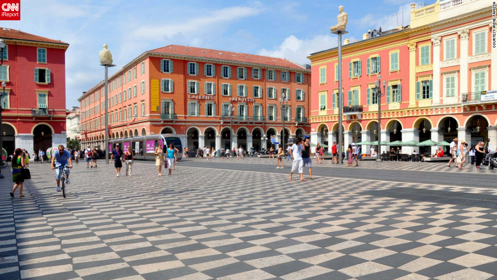 """Nice is like a Paris on the sea, very poetic,"" <a href=""http://ireport.cnn.com/docs/DOC-826524"">says Irene Fanizza</a>. The city's colorful Place Massena hosts markets and outdoor events."
