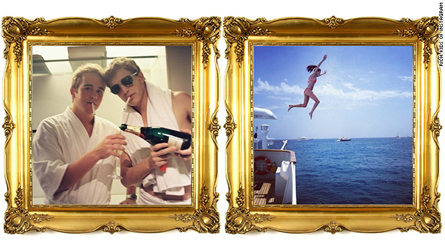 Shots of wealthy young people from the Rich Kids of Instagram blog