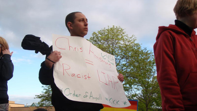 Photos of Andrew Shirvell at anti gay rally