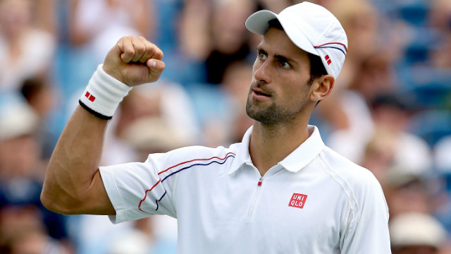 Novak Djokovic celebrates his win over Juan Martin Del Potro
