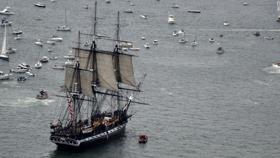 The USS Constitution sets sail Sunday across the Boston Harbor, commemorating the anniversary of her victory over a British frigate during the War of 1812.