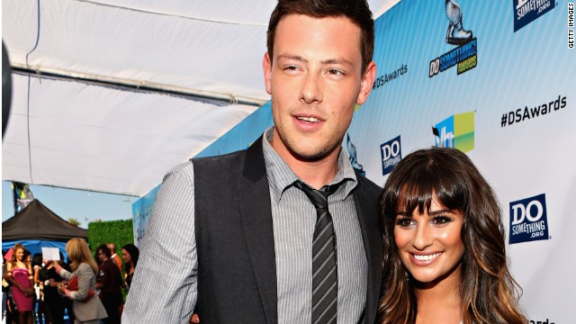 Actors Cory Monteith and Lea Michele arrive at the 2012 Do Something Awards at Barker Hangar on August 19, 2012 in Santa Monica, California.