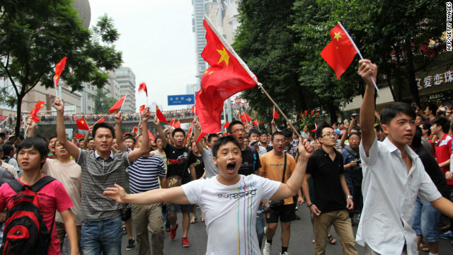 As this scene from Chengdu, China, in August last year shows, the dispute has sparked nationalistic anger in both countries.