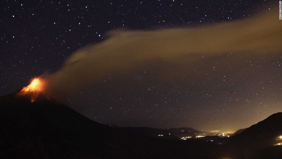 A large cloud of ash blows over the town of Bilbao on Tuesday.