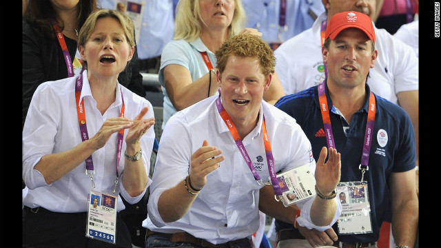Left to right: Carole Coe, Prince Harry and Peter Phillips enjoy the atmosphere as they watch the Track Cycling during the London 2012 Olympic Games at the Velodrome on August 7, 2012 in London, England.