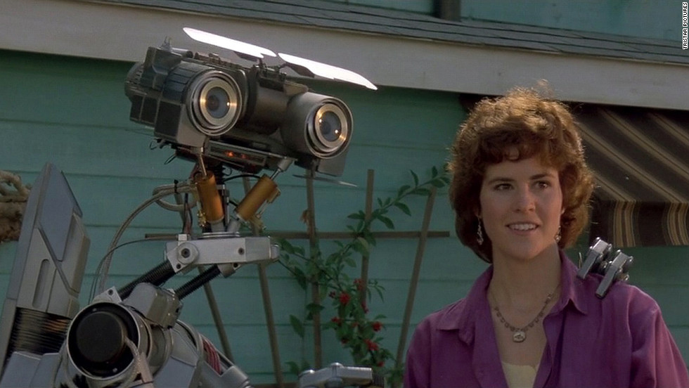 "Entertainment nominee Johnny 5, the star of ""Short Circuit,"" appears in a scene from the 1986 movie with Ally Sheedy."