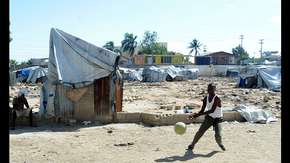 Survivors of the January 12, 2010, earthquake continue to live in a tent city in the St. Therese suburb of Port-au-Prince on July 5. With the support of the International Office for Migration, many survivors have new found homes, leaving the tent city largely empty.