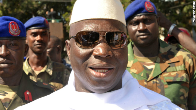 Gambian incumbent Yahya Jammeh arriving at a polling station in the capital Banjul during presidential elections on November 24, 2011.