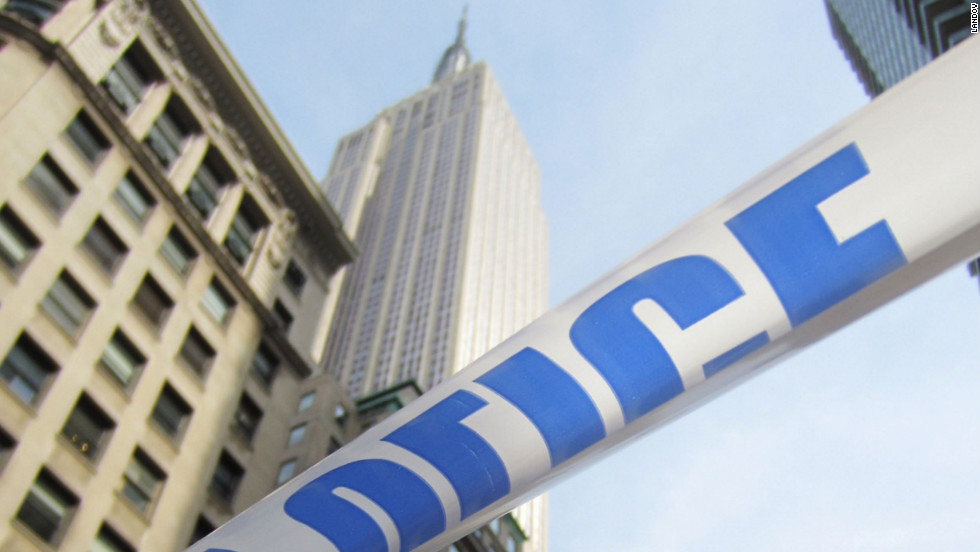 Police tape marks off the scene of Friday's shooting outside the Empire State Building.
