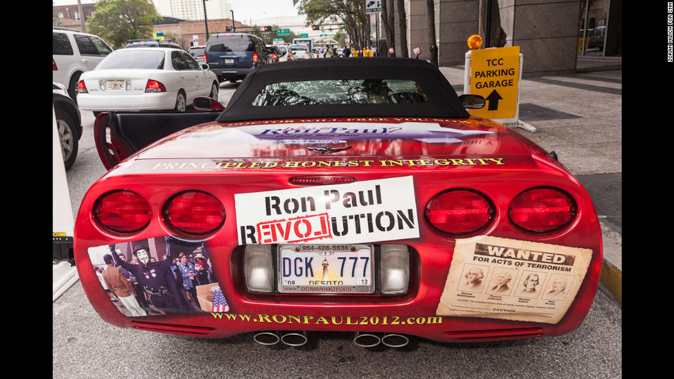A pro-Ron Paul Corvette cruises the streets of Tampa.