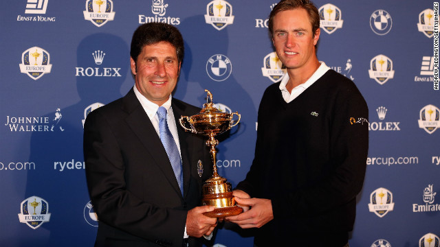 European Ryder Cup team captain Jose Maria Olazabal poses with his wildcard pick Nicolas Colsaerts of Belgium.