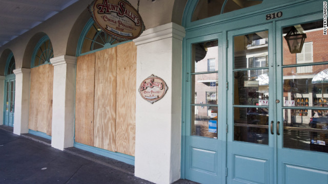Aunt Sally's Creole Pralines' storefront is boarded up in the French Quarterof New Orleans, Louisiana, in preparation for Tropical Storm Issac on Monday, August 27.