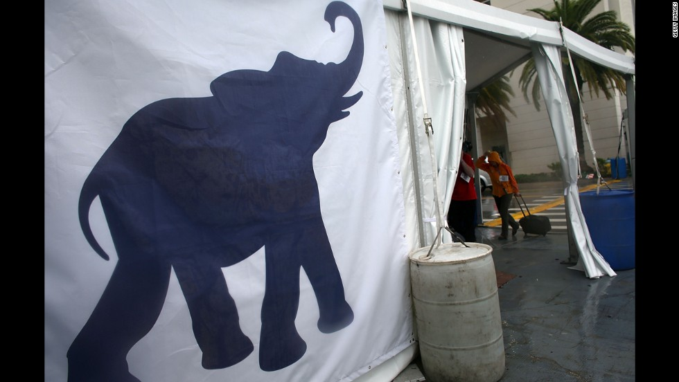 An elephant logo is featured on the side of a tent outside of the Republican National Convention at the Tampa Bay Times Forum.