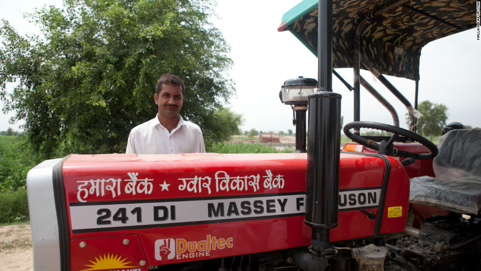 Kumar bought a tractor with the money he earned by growing and selling his guar crop.