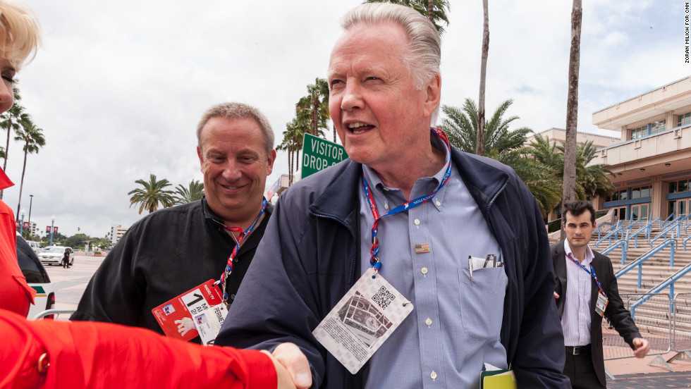 Actor and active Republican Jon Voight arrives at the Tampa Bay Times Forum on Monday.
