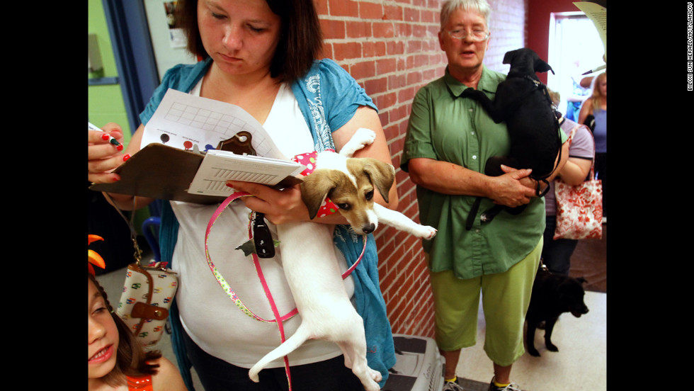Biloxi, Mississippi, resident Stephanie Dale fills out paperwork Sunday to have her dog microchipped at the Humane Society of South Mississippi, which opened its doors to provide an emergency microchip and tag clinic.
