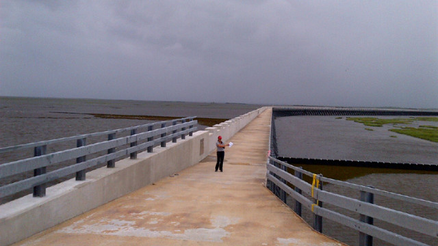 Soledad walks along 26-foot high wall that now separates the Gulf of Mexico from Lake Borgne. It's 2 miles long and was built after hurricane Katrina. They've closed gates and are hoping it will withstand the test of Hurricane Isaac.