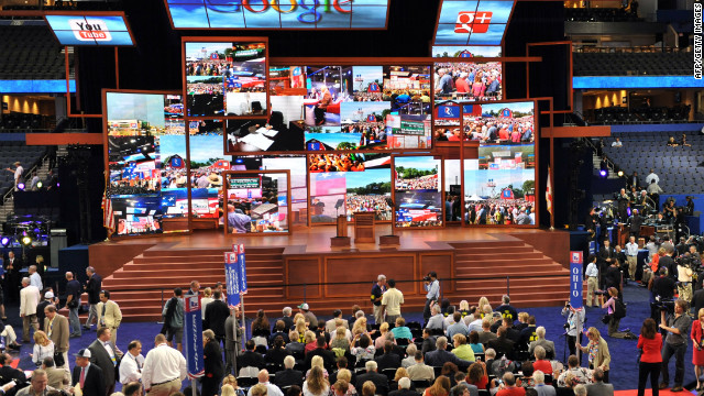 A patchwork of images appears on the multiple screens on stage at the Tampa Bay Times Forum in Tampa, Florida, on August 28, 2012 during the Republican National Convention. The 2012 Republican National Convention is expected to host 2,286 delegates and 2,125 alternate delegates from all 50 states, the District of Columbia and five territories. AFP PHOTO Stan HONDA (Photo credit should read STAN HONDA/AFP/GettyImages)