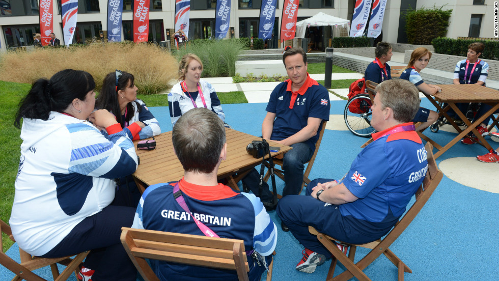 Prime Minister David Cameron meets members of the Great Britain Paralympics archery team during a visit to the Olympic village, ahead of the London 2012 Paralympic Games in the Olympic Park, on August 24.