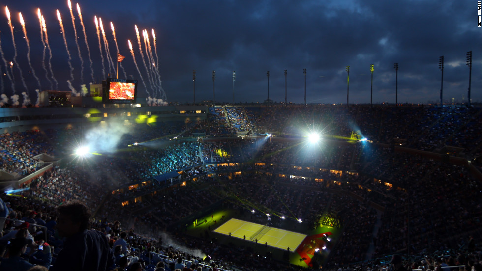 Fireworks expload over Arthur Ashe Stadium during the opening ceremonies of the 2012 U.S. Open on Monday, August 27.
