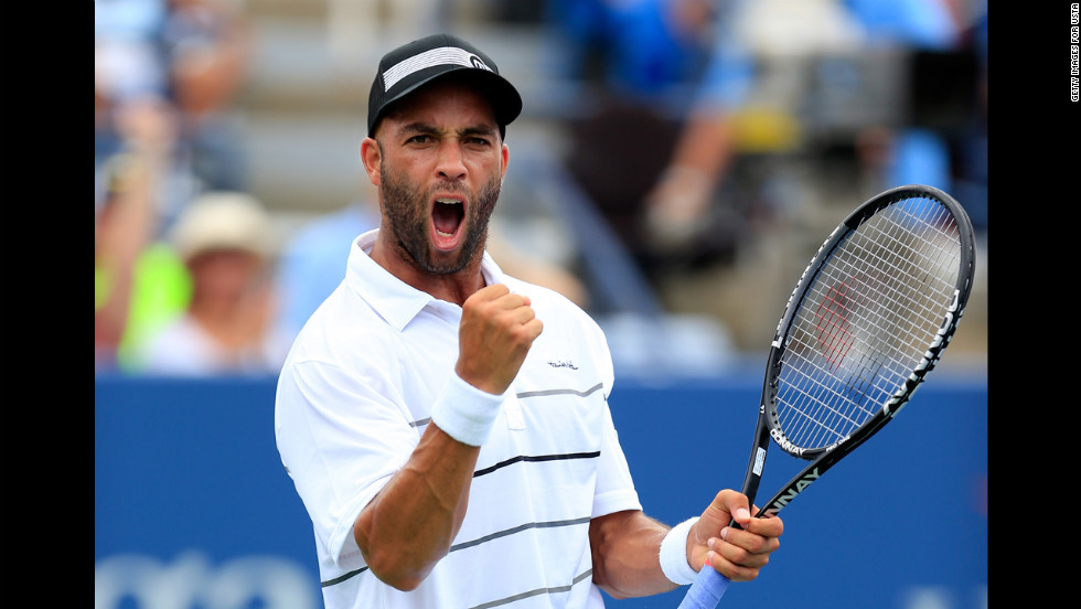 American James Blake celebrates a point during his men's singles first-round match against Lukas Lacko of Slovakia.