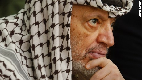 The former Palestinian leader Yasser Arafat pictured here on May 17, 2002, at his headquarters in the West Bank town of Ramallah.