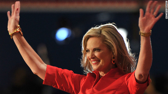 Republican presidential candidate Mitt Romney's wife Ann greets the crowd of supporters at the Tampa Bay Times Forum in Tampa, Florida, on August 28, 2012 during the Republican National Convention. The 2012 Republican National Convention is expected to host 2,286 delegates and 2,125 alternate delegates from all 50 states, the District of Columbia and five territories.  AFP PHOTO/MLADEN ANTONOV        (Photo credit should read MLADEN ANTONOV/AFP/GettyImages)
