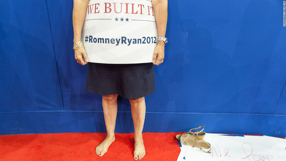 A Mitt Romney supporter rests her feet after a long day at the Republican National Convention.