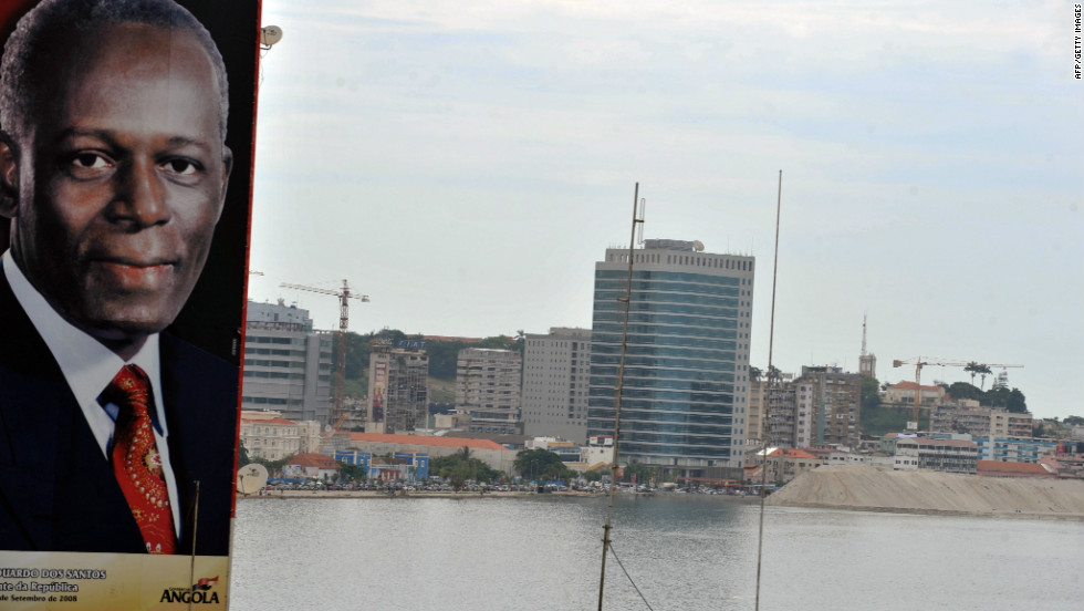 A large portrait of the Angolan President is seen in the center of Luanda on January 30, 2010. The Angolan capital was last year named the world's most expensive city for expats.