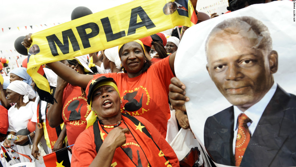 MPLA supporters attend Wednesday the final rally of President dos Santos in Kilamba Kaixi on the outskirts of Luanda, Angola's capital.