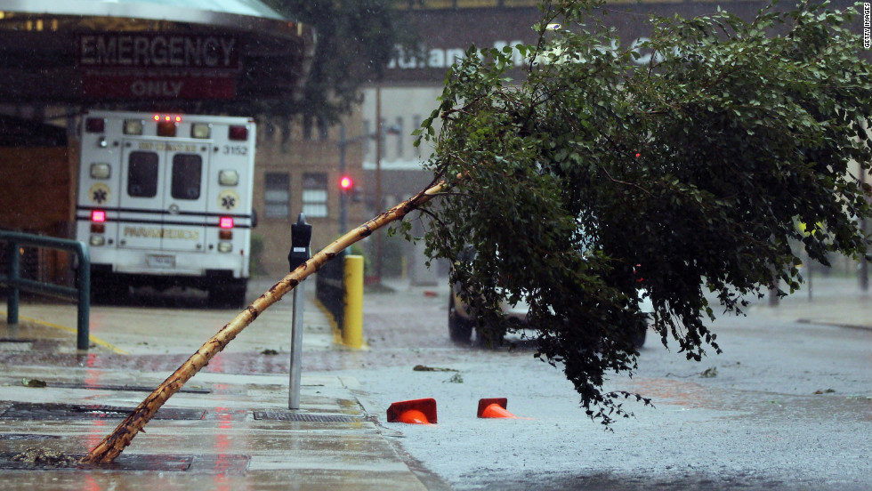 A tree was pushed over outside Tulane Medical Center in New Orleans.