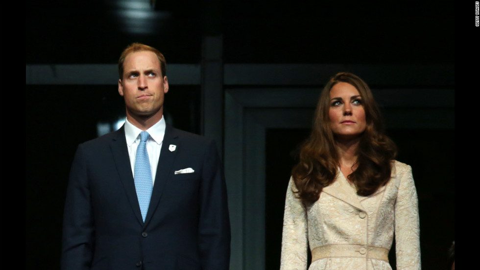Prince William, Duke of Cambridge, and Catherine, Duchess of Cambridge, watch the ceremony.
