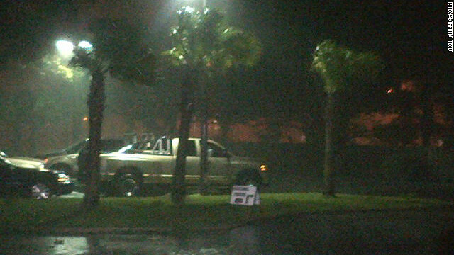 Rain pouring from Hurricane Isaac hits Gulfport, Mississippi.