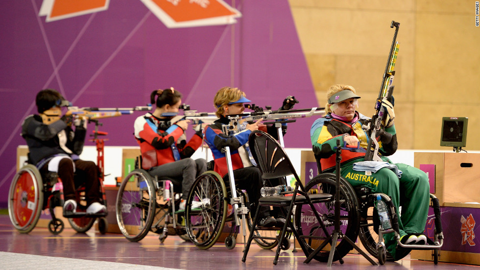 Natalie Smith of Australia competes in the Women's R2-10-meter air rifle standing SH1 finals.