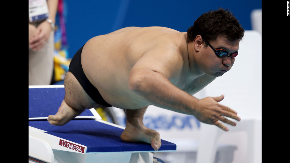 Arnulfo Castorena of Mexico competes in the men's 50-meter breast stroke SB2 heat 1.