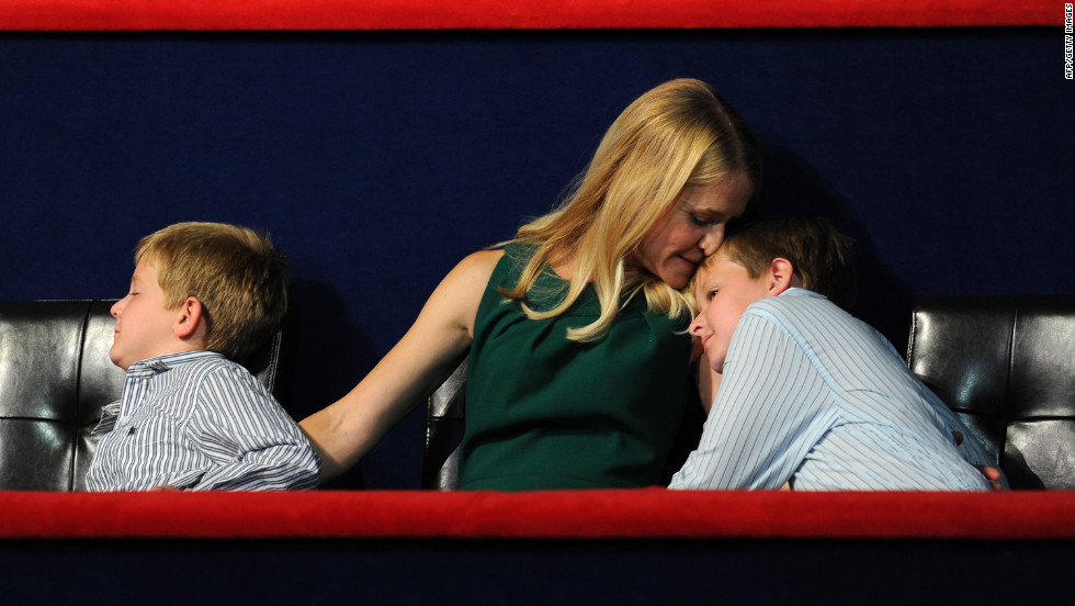 Paul Ryan's wife, Janna, is flanked by her sons Charlie, left, and Sam during Ryan's keynote address Wednesday night.