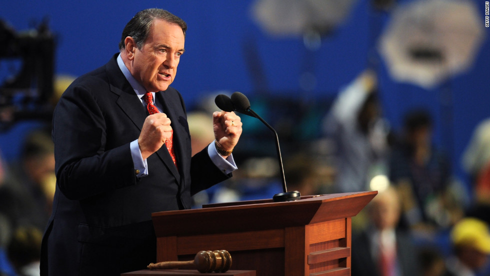 Mike Huckabee, a Republican candidate in the 2008 presidential primaries, backs his one-time rival Mitt Romney.