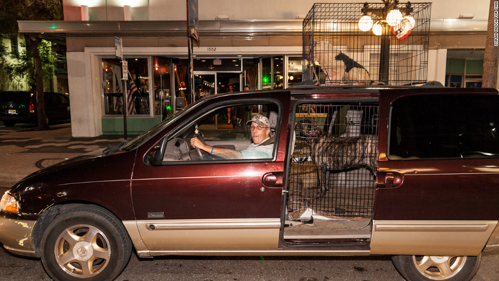 A protester sits in his car in Ybor City. During a summer road trip, Republican presidential nominee Mitt Romney once put his family dog in a cage and perched it atop the family car.