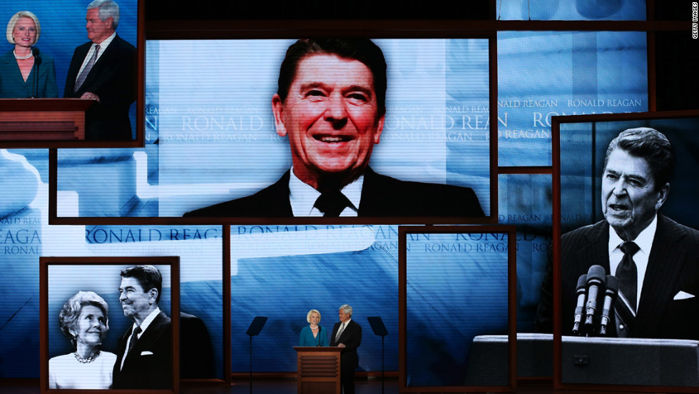 Former Speaker of the House Newt Gingrich and his wife, Callista, speak during a tribute to former president Ronald Reagan on Thursday.