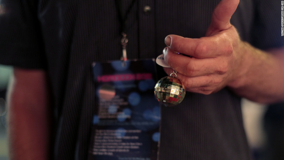 On the way out of the event, attendees receive a convention collector's item -- a disco-ball keychain with the GOProud logo.