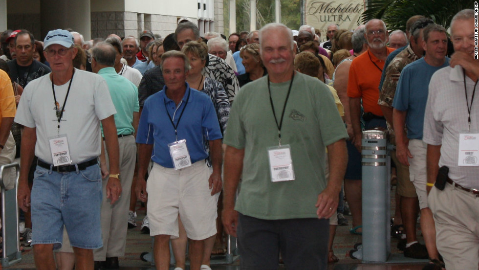 "Competitors gather at the massive Myrtle Beach Convention Center which acts as the ""19th hole"" for the 3,000-plus golfers taking part in the unique tournament."