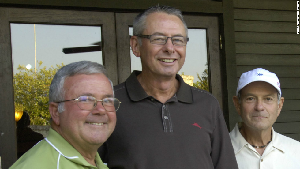 Bob Yelton, left, with fellow competitors Paul Ciancanelli (center) and his brother Don. The trio have taken part in all 29 editions of the World Amateur Handicap championship.