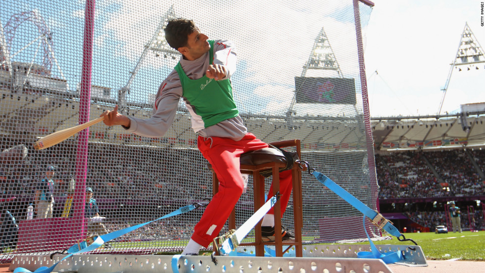 Lahouari Bahlaz of Algeria competes in the men's club throw on Friday.