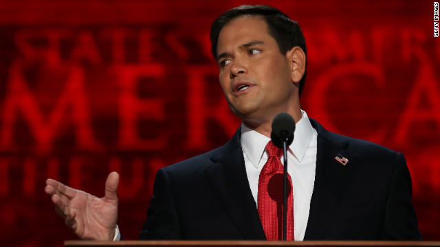 Sen. Marco Rubio of Florida speaks during the final day of the Republican National Convention at the Tampa Bay Times Forum on Thursday, August 30, in Tampa, Florida.