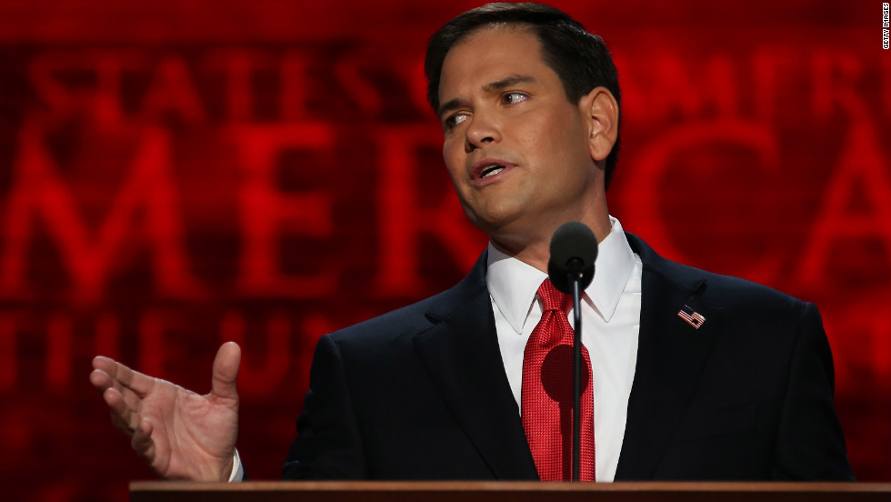 Florida Sen. Marco Rubio introduces Romney after his speech.